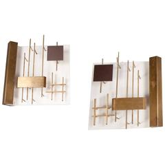 Pair of Sconces by Gio Ponti, Lumi Editions, Italy, circa 1960