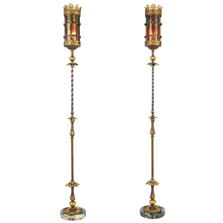 Pair of Early 20th Century Oscar Bach Style Floor Lamps