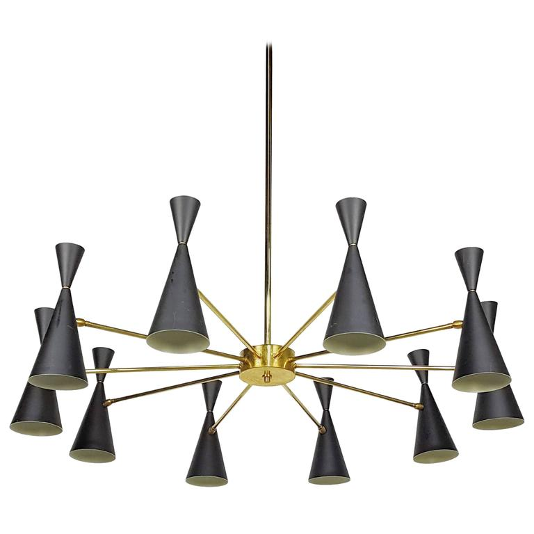 Architectural 'Monolith' Enamel and Brass Chandelier by Blueprint Lighting, 2016