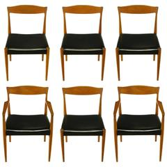 Six Teak Sculptural Back Dining Chairs, circa 1960s