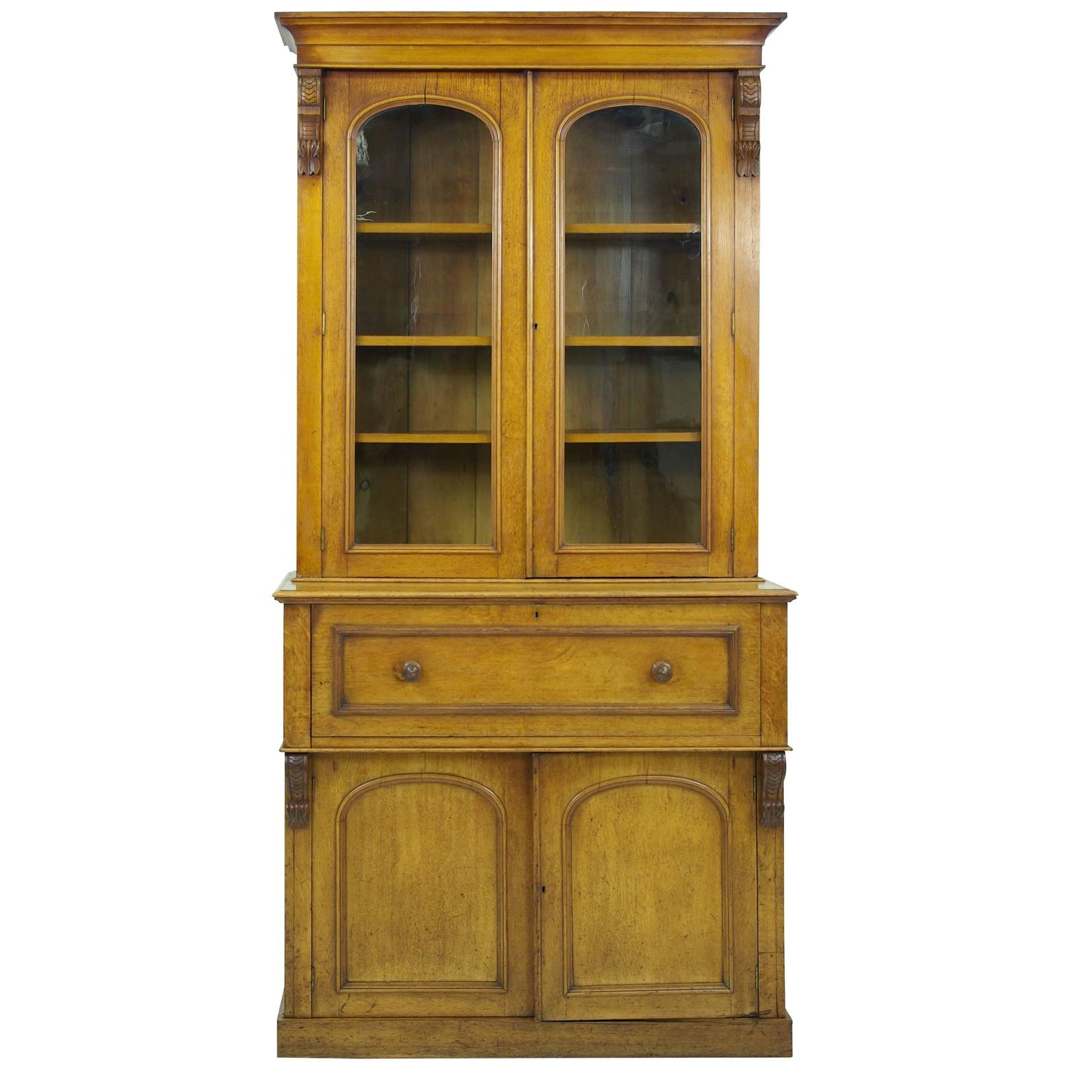 B304 Antique Scottish Victorian Oak Secretary, Fall Front Desk/Bookcase  Cabinet at 1stdibs - B304 Antique Scottish Victorian Oak Secretary, Fall Front Desk