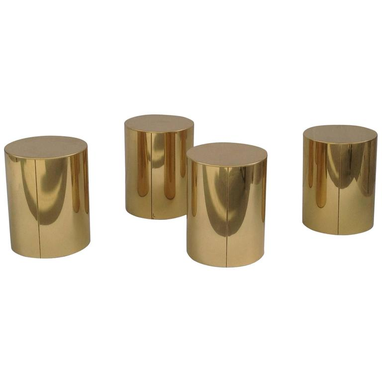 Four Polished Brass Drum Side Tables By C Jere For Sale