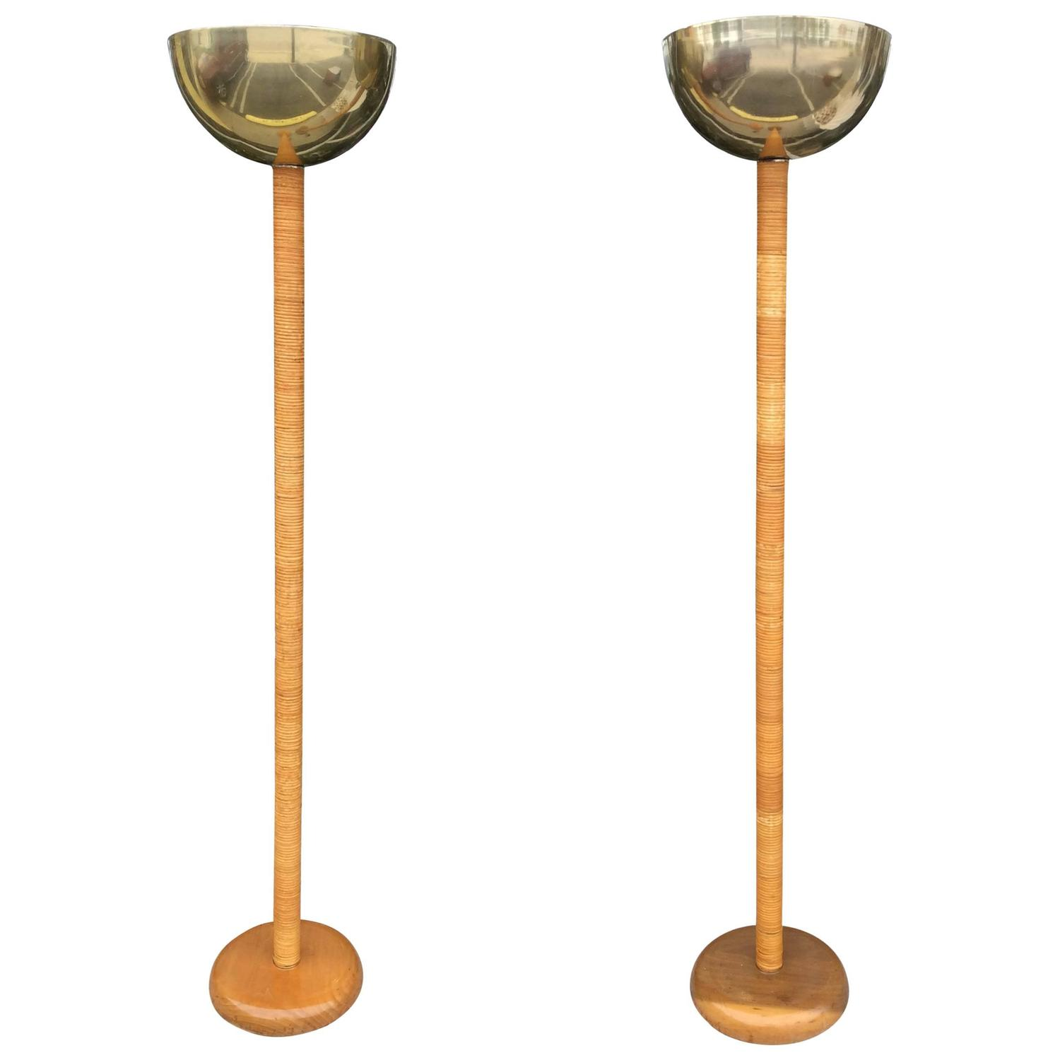 Pair of Vintage Bamboo Rattan and Brass Table Floor Lamps For Sale