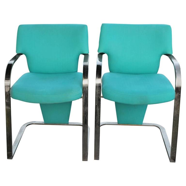 Brass Carsons Vintage Pair of Arm Cantilever Chairs Art Deco Hollywood Regency For Sale