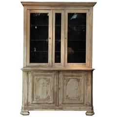 French Two Parts Bookcase Original Painted Cabinet, Early 1900