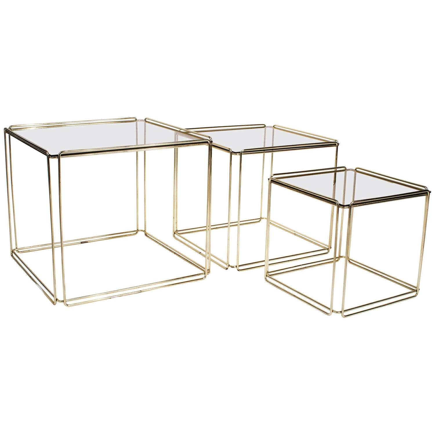 Set Of Three Nesting Tables By Max Sauze France 1970s Gold Metal And . Full resolution  photo, nominally Width 1500 Height 1500 pixels, photo with #816F4A.