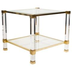 Pierre Vandel Lucite and Brass Side Table, France 1970s