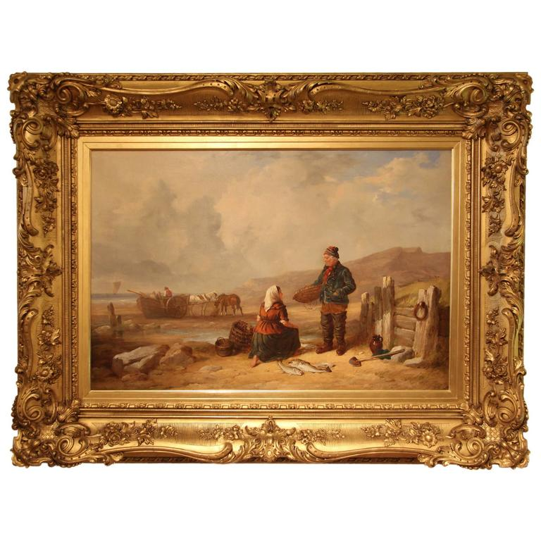 """Fisherfolk by the Shore"" Large Oil Painting by Isaac Henzell"