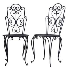 Pair of Art Deco Iron Chairs, France, circa 1950s