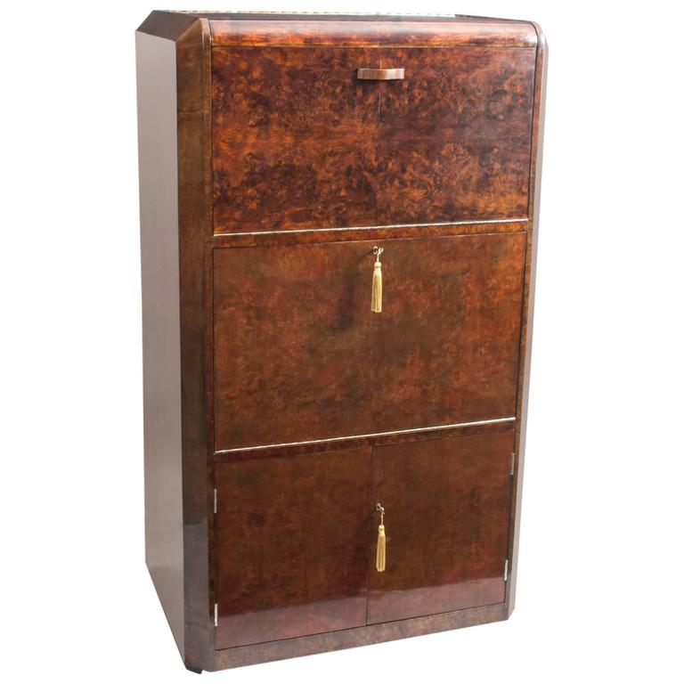 1930s Art Deco Burr Walnut Cocktail Cabinet For Sale