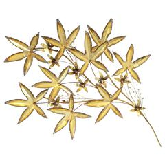 Brass Leaves Wall Sculpture by Curtis Jere, 1981