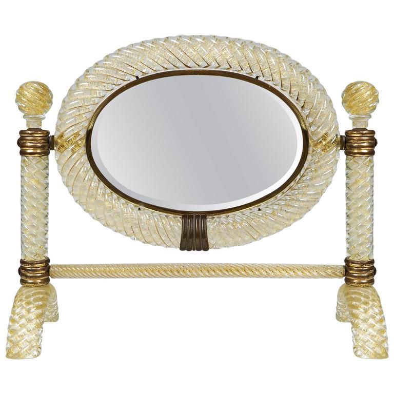 Table Mirror by Archimede Seguso, circa 1940