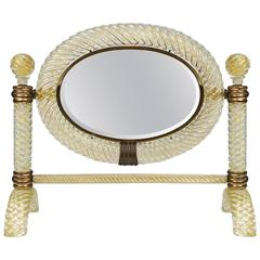 Table Mirror by Archimede Seguso, circa 1940
