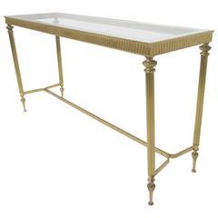 Hollywood Regency Brass Console or Sofa Table, circa 1960s