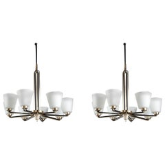 Pair of Chandeliers by Stilnovo Italy, 1950s