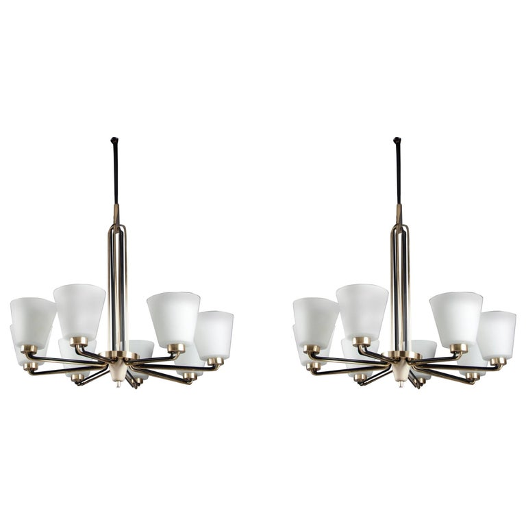 Pair of Chandeliers by Stilnovo Italy, 1950s For Sale