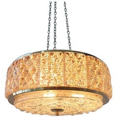 Danish Mid-Century Glass Chandelier by Vitrika in Collaboration with Orrefors