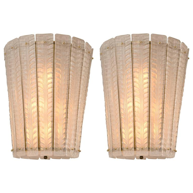 Pair of Murano Blown White Tapered  Lanterns