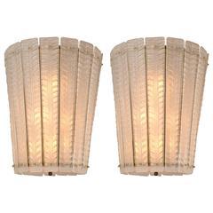 Pair of Murano Blown White Tapered  Lanterns
