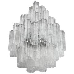 Large Four-Tier Venini Tronchi Chandelier Glass Murano Tubes, 1960s, Italy