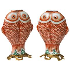 Pair of Double Carp Chinese Bronze-Mounted Export Porcelain, Qing Dynasty