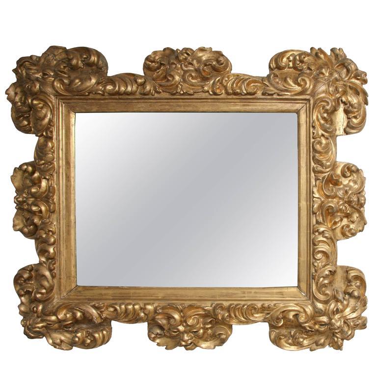 Italian baroque carved giltwood mirror circa 1700 for for Italian baroque mirror
