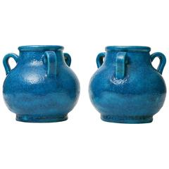 Pair of Egyptian Blue Faience French Vases, circa 1920