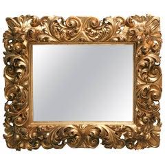 Italian Baroque Carved Giltwood Mirror, 18th Century