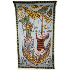 Mid-Century Modern Scandinavian Stig Lindberg Fabric Panel Wall Art Signed