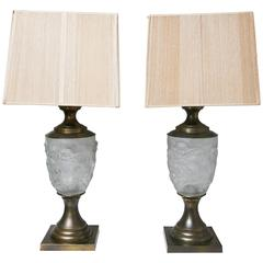Pair of Hollywood Regency Lalique Style Brass / Glass Putti Table Lamps, Elegant