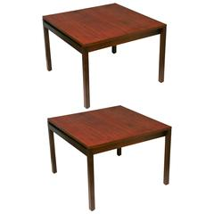 Mid-Century Danish Modern Knoll Lewis Butler Walnut Square Side / End Tables