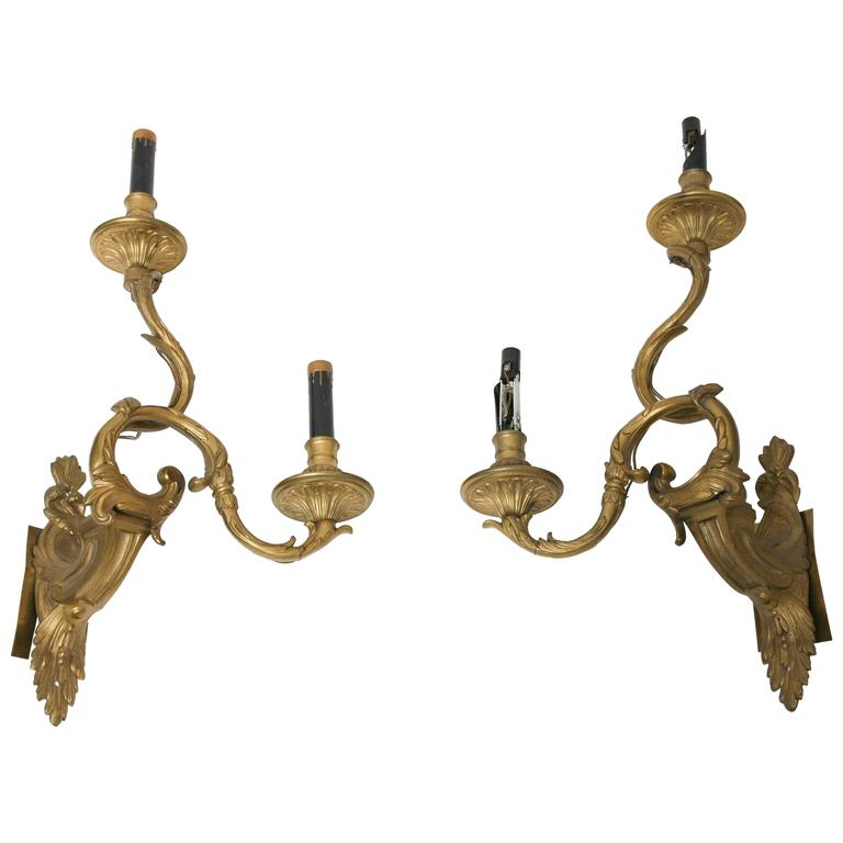 Antique French Wall Sconces : Antique French Neoclassic Henri Vian Gilt Bronze Appliques Wall Sconces, Signed For Sale at 1stdibs