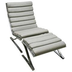 Mid-Century Modern D I A Cantilevered Chrome Lounge Chair/Ottoman