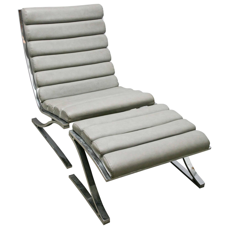 Mid Century Modern D I A Cantilevered Chrome Lounge Chair Ottoman