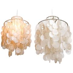 Pair Vintage Mid-Century Modern Verner Panton Fun Lueber Shell Pendant Lamps