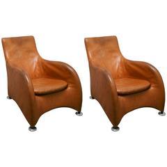 Pair of Modern Gerard Van Den Berg Montis Leather / Aluminium Loge Easy Chair