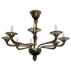 Minimalistic Custom Venetian Uplight Chandelier In Grey