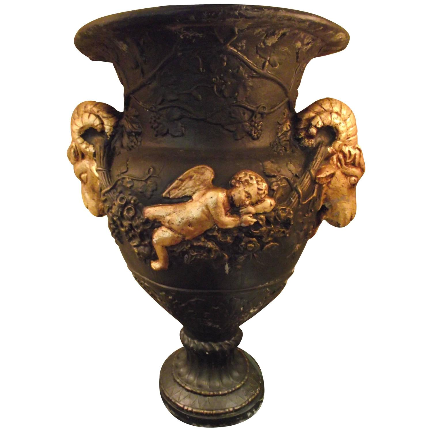 Large ram 39 s head and cherub urn in brown black and gold leaf finish at 1stdibs - Large decorative vases and urns ...
