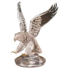 Large Vintage Glass Blown American Bald Eagle Sculpture by Pino Signoretto