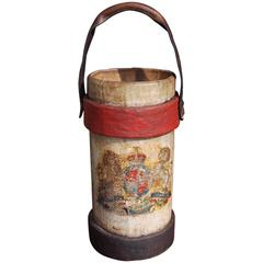 British Royal Navy Leather Shot Bucket, Circa 1820