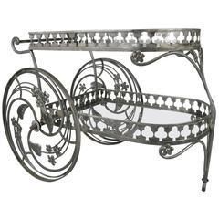 Vintage 1950s Wrought Iron Bar Cart by Salterini