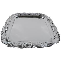 Tiffany Sterling Silver Square Salver Tray in Wave Pattern