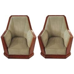 Pair of French Art Deco Club Chairs in the Manner of Dominique