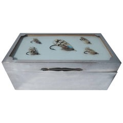 For the Sportsman: English Sterling Silver Box with Fishing Flies