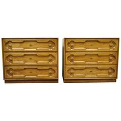Pair of Drexel Heritage Hollywood Regency Bachelor Chest Bedside Commode Dresser