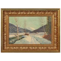 Signed Oil on Canvas Painting of a Winter Landscape, circa 1920-1940
