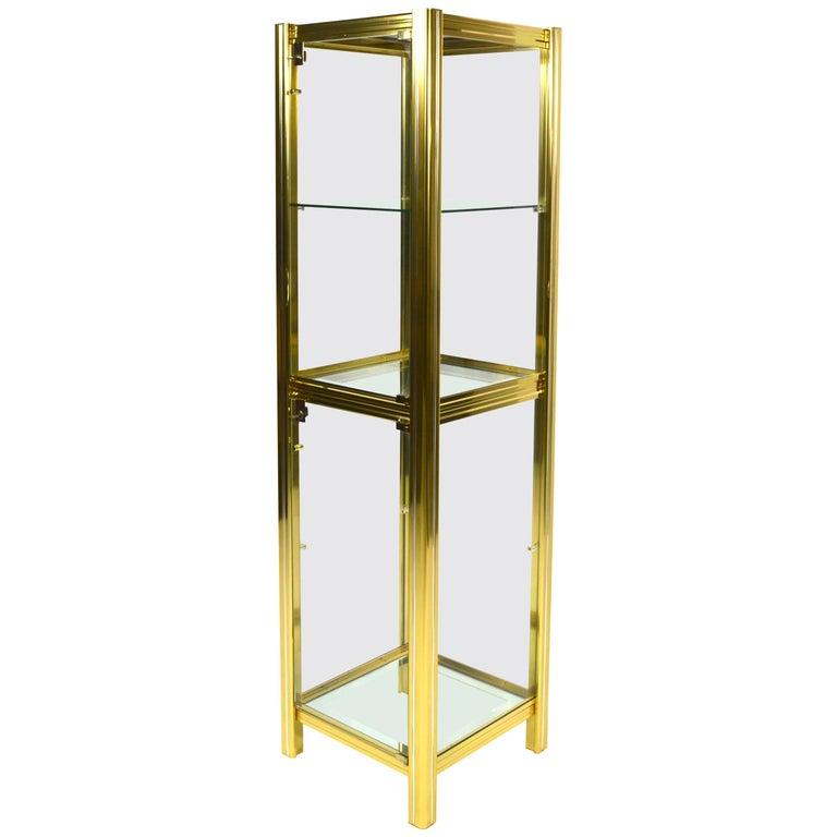 Midcentury Italian Brass Showcase For Sale