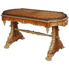 George IV Period Amboyna Inlaid and Carved Giltwood Centre Table