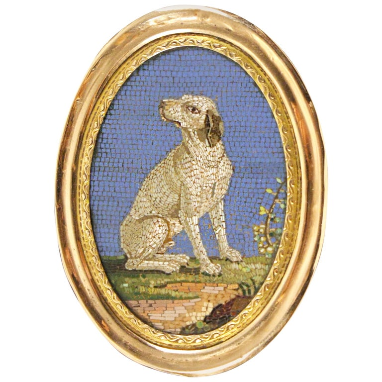 Italian Gold-Mounted Micromosaic Snuff Box For Sale