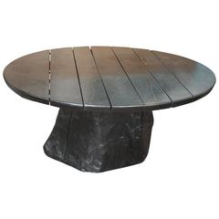 Round Ebonized Oak Coffee Table with Live Edge Tree Trunk Base